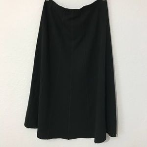Eileen Fisher wool blend black midi A-line skirt
